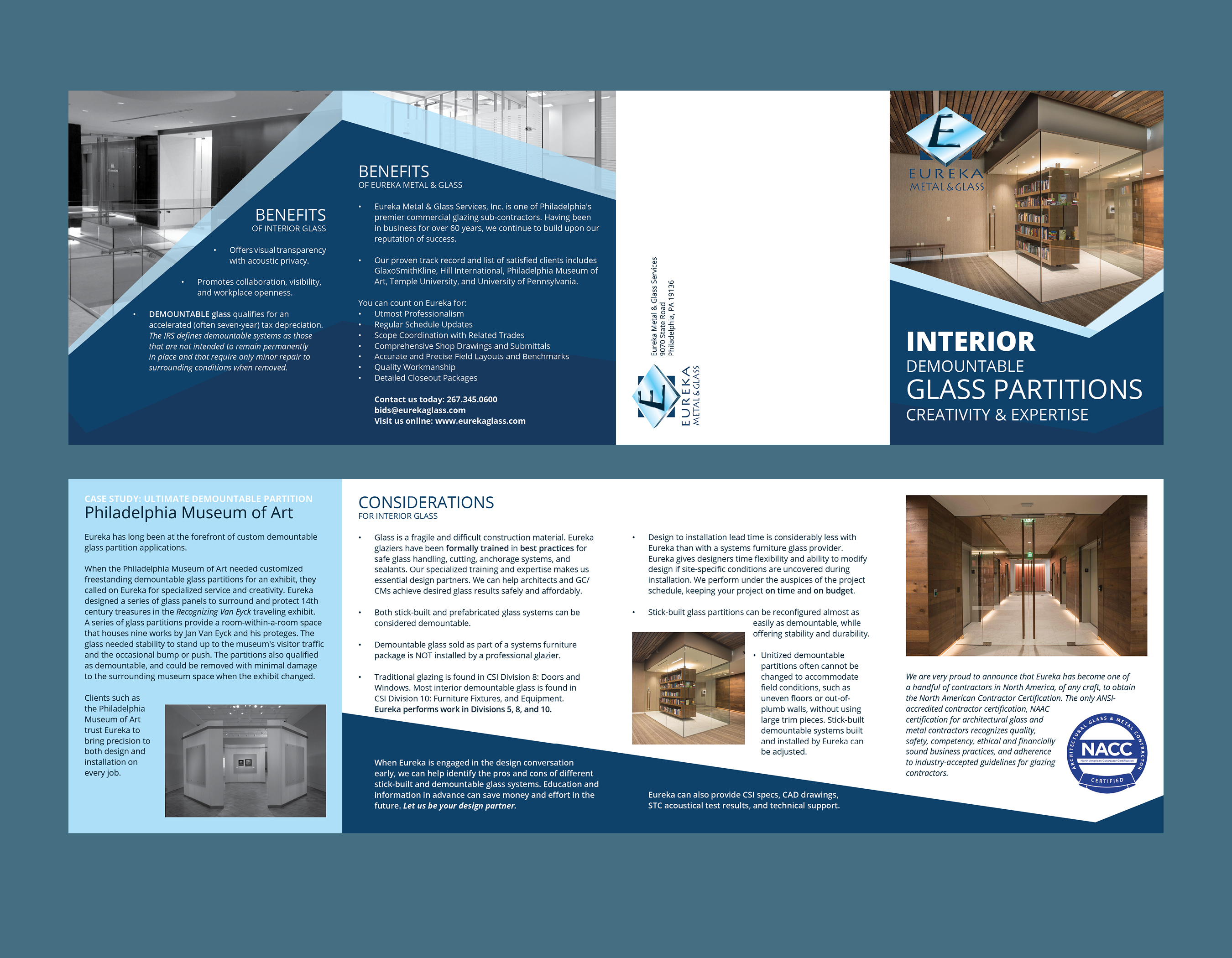 AGW Graphic Design - Eureka Interior Glass Brochure
